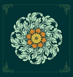 mandala ornaments design floral green color vector image