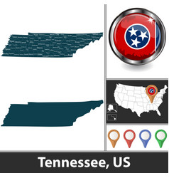map tennessee us vector image