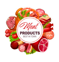 Meat and sausages butcher shop grocery products vector