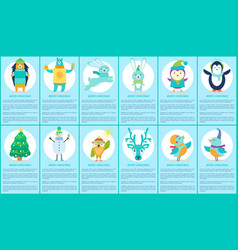 merry christmas set on blue vector image