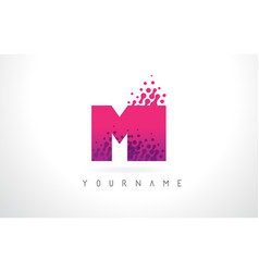 Mi m i letter logo with pink purple color and vector