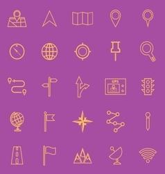 Navigation line color icons on violet background vector