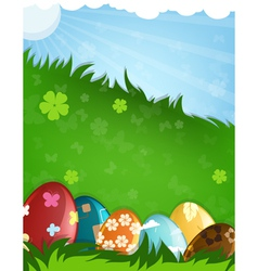 Painted Easter eggs in a grass vector image