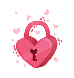 Pink heart shaped padlock as saint valentine day vector