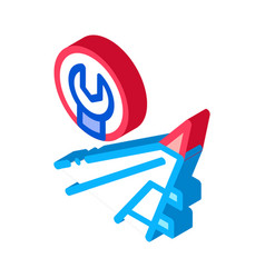 Plane wing wrench isometric icon vector