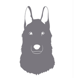 Portrait of a gray wolf silhouette vector
