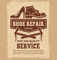 Poster with of shoe repair workshop vector