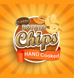Potato chips label vector