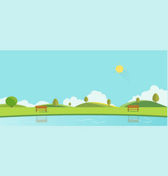 public park with bench sky background vector image