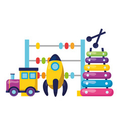 Rocket train xylophone and abacus kids toys vector