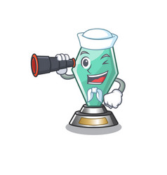 Sailor with binocular acrylic trophy mascot on a vector