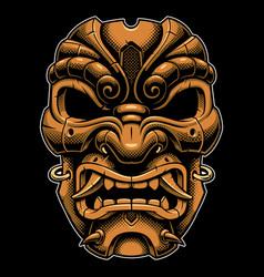 samurai warrior mask color version vector image vector image