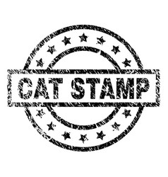 Scratched textured cat stamp seal vector