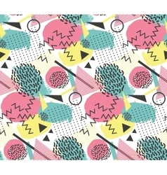 Seamless pattern in memphis style with geometric vector