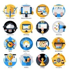 Seo Development Round Icons Set vector