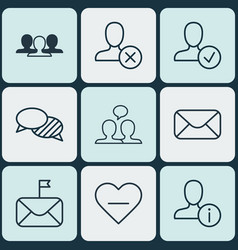 set of 9 communication icons includes ban person vector image