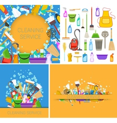 set of cleaning service backgrounds vector image