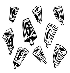 set of hand drawn nozzles for aerosol cans in vector image