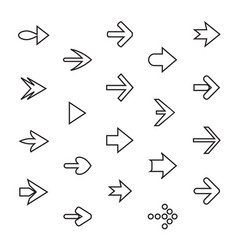 set of outline arrows collection of buttons vector image