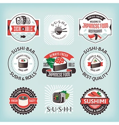 Set of various sushi labels vector image