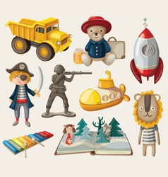 Set old-fashioned toys vector