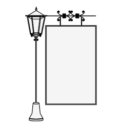 Silhouette lamp post with poster vector