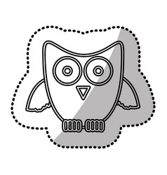Silhouette sticker owl icon vector