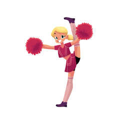 smiling cheerleader dancing with pom-poms vector image