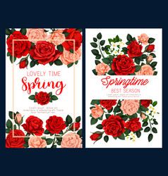 Spring flower poster for mother day greeting card vector