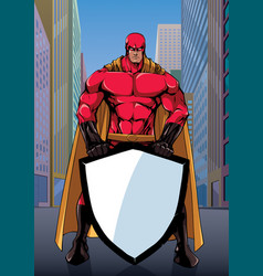 superhero holding shield on street vector image