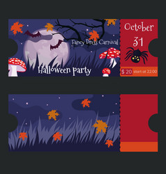 ticket design for halloween party template vector image