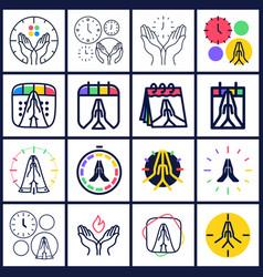 time to pray logo set collectio praying hands vector image