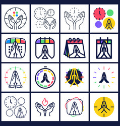 time to pray logo set collection praying hands vector image