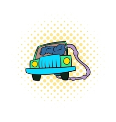 Traffic fumes suicide icon comics style vector