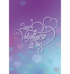 Valentines Card 2014 Valentines Day Purple Blue vector image