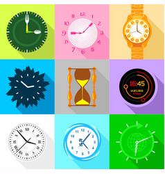 Watch face icons set flat style vector