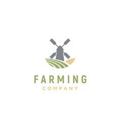 windmill barn farm field nature landscape logo vector image