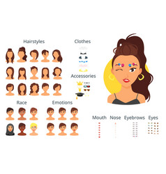 woman avatar constructor vector image