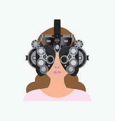 Woman looking through phoropter during eye exam vector