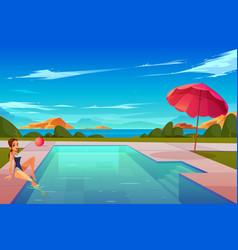 woman relaxing at swimming pool cartoon vector image