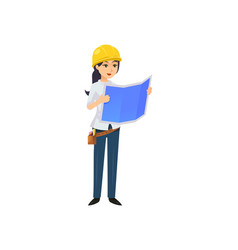 woman with blueprintg working as constructor vector image