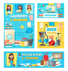 woman with housework and house cleaning items vector image
