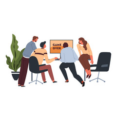 workers playing video games at coffee break in vector image