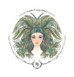 Zodiac sign portrait of a woman virgo vector