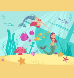 cartoon fairytale underwater background vector image