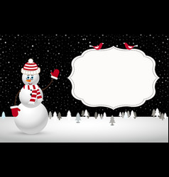 Christmas night landscape with snowman vector
