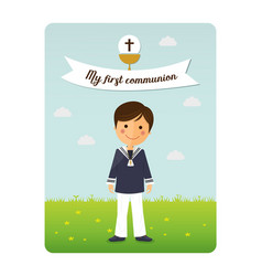 first communion child invitation with message vector image