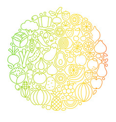 fruit vegetable line icons circle vector image vector image