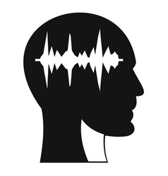sound wave icon in human head icon simple style vector image