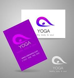 Yoga logo card vector